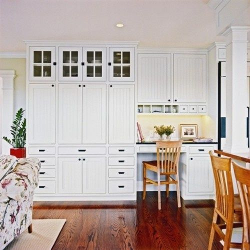 Built In Kitchen Pantry Ideas: Built-in White Wall Cabinets And Desk In Kitchen // Tall