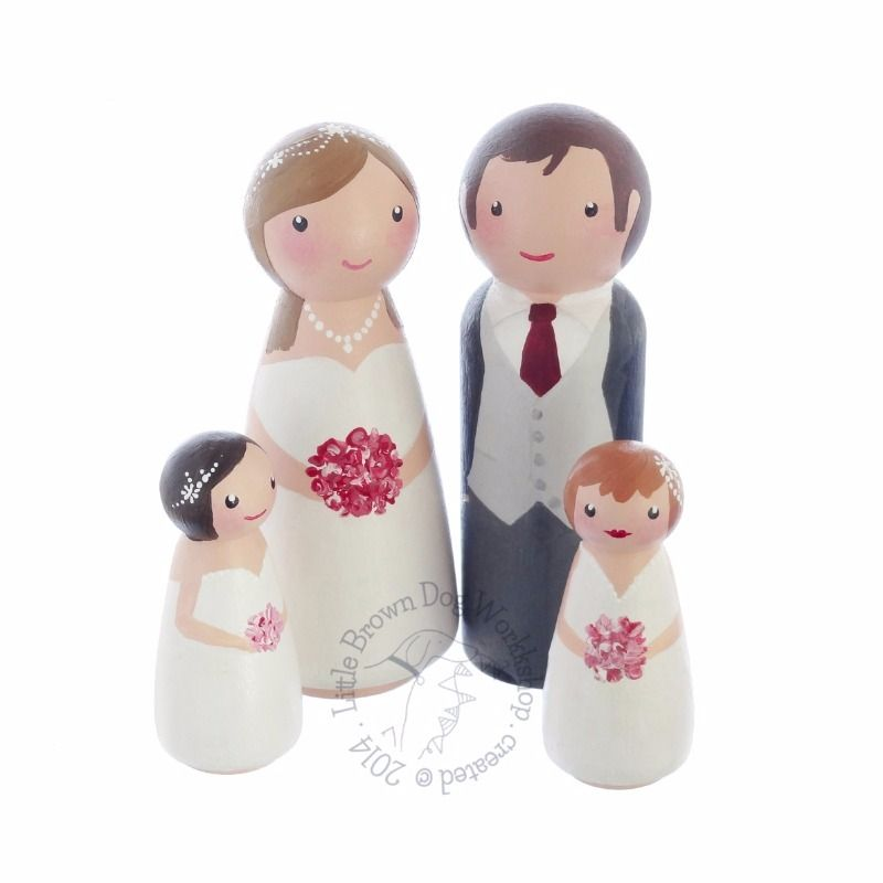 Custom Hand Painted Peg Doll Bride Groom And Flower Girls Wedding Cake Topper Personalised Wooden Ornament Decoration