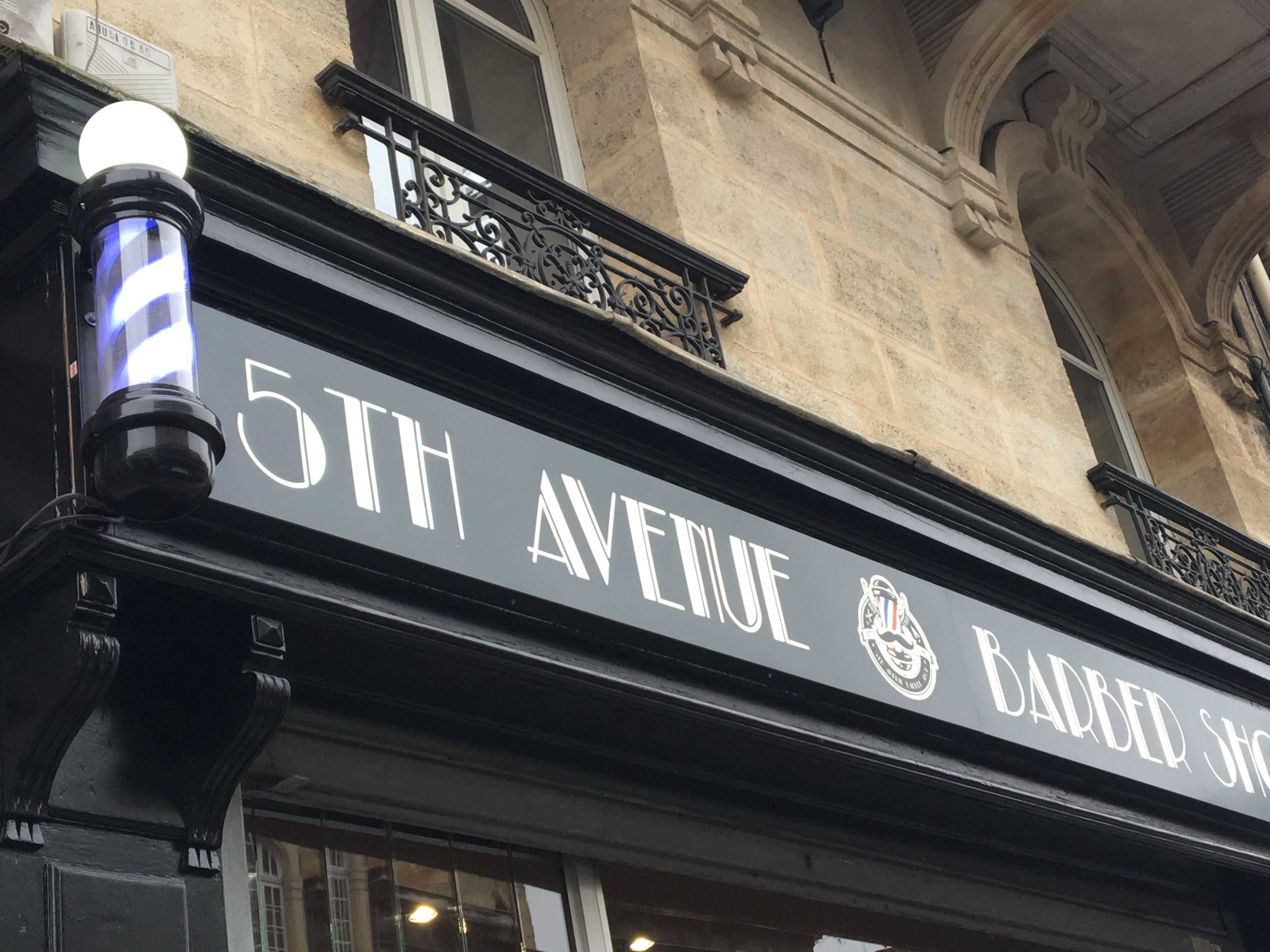Enseigne Facade Salon 5th Avenue Barber Shop Bordeaux