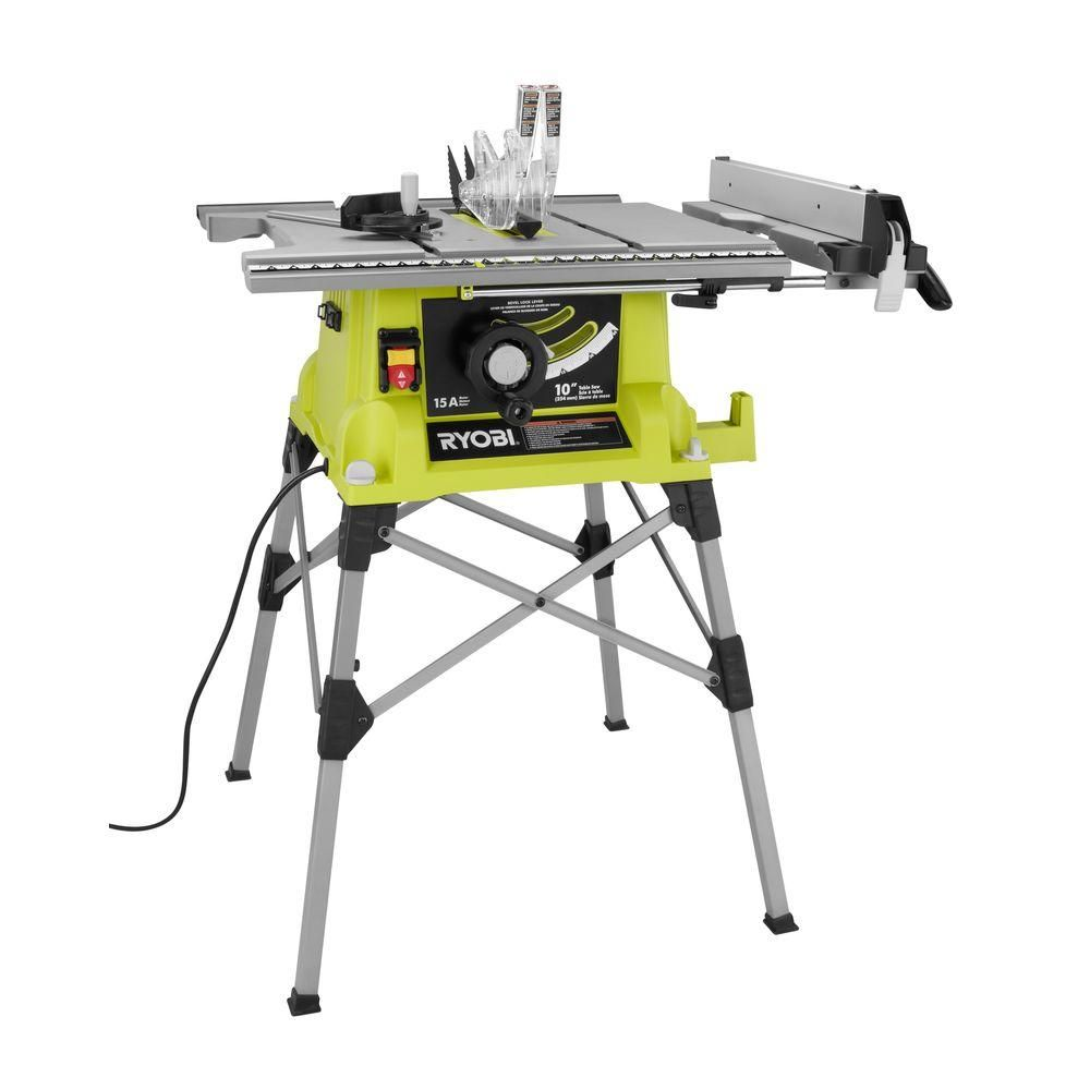 Ryobi 10 In Portable Table Saw With Quick Stand Rts21g The Home Depot With Images Portable Table Saw Used Woodworking Tools Ryobi Tools