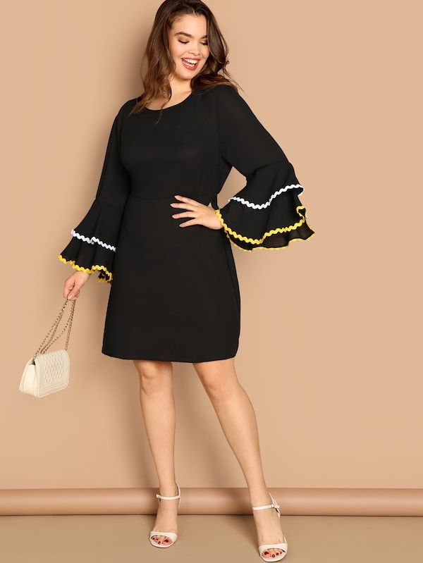 Vestido De Puño Fruncido En Contraste Grande En 2019 Shein