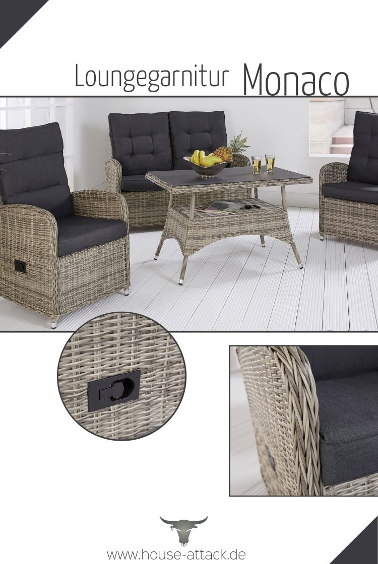 Polyrattan Loungeset Monaco Lounge Mobel Gartenmobel Sitzgruppe