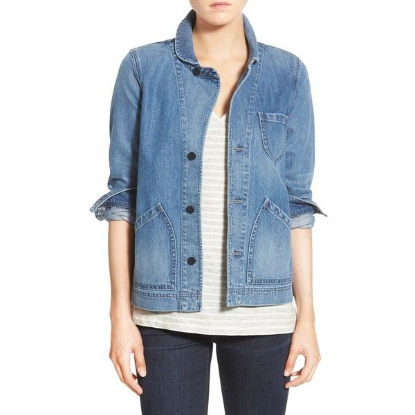 Madewell 'Joshua Tree' Denim Jacket (190 CAD) ❤ liked on Polyvore featuring outerwear, jackets, rossie wash, long sleeve jean jacket, blue jean jacket, denim jacket, long sleeve denim jacket and madewell