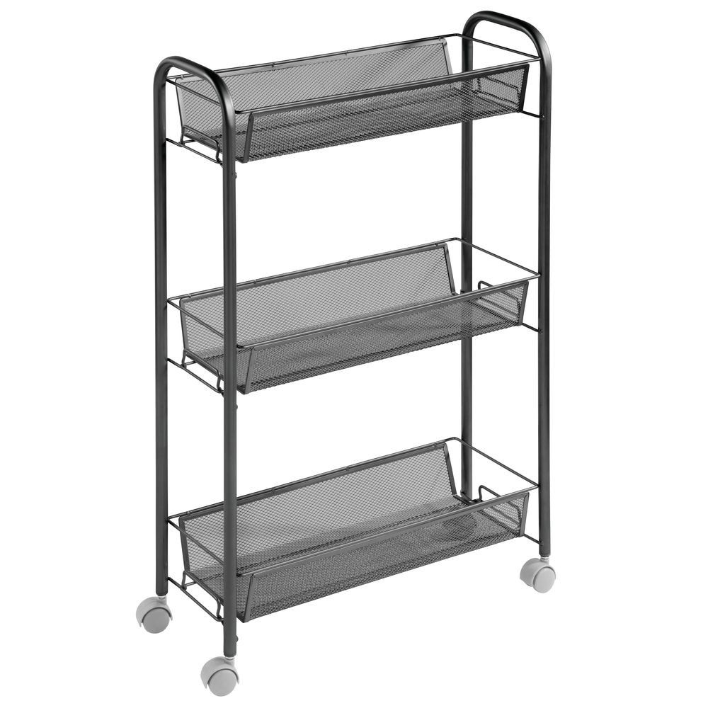 Mdesign Portable Metal Rolling Laundry Utility Cart 3 Shelves