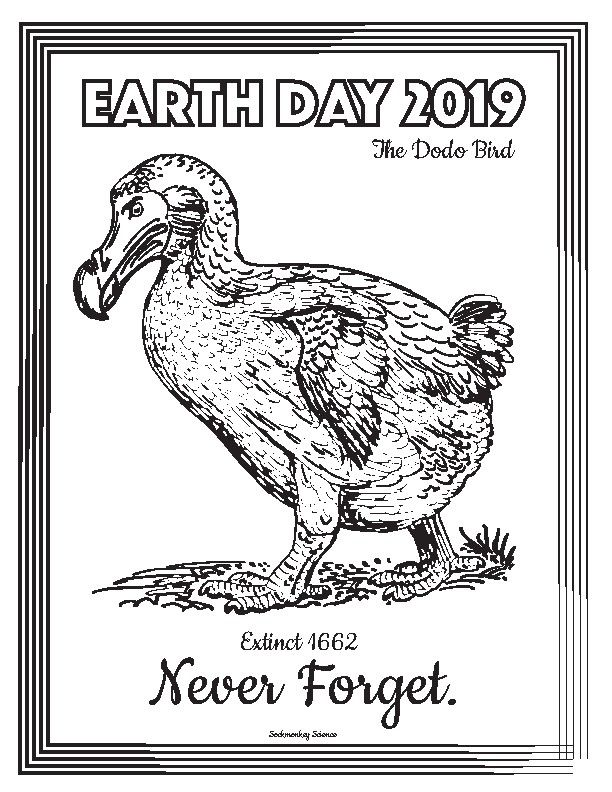 Earth Day 2019 Color Sheet Don't be a Dodo {FREEBIE