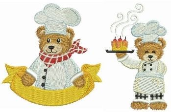 Chef Teddy Bear Set 4x4 Products SWAK Embroidery