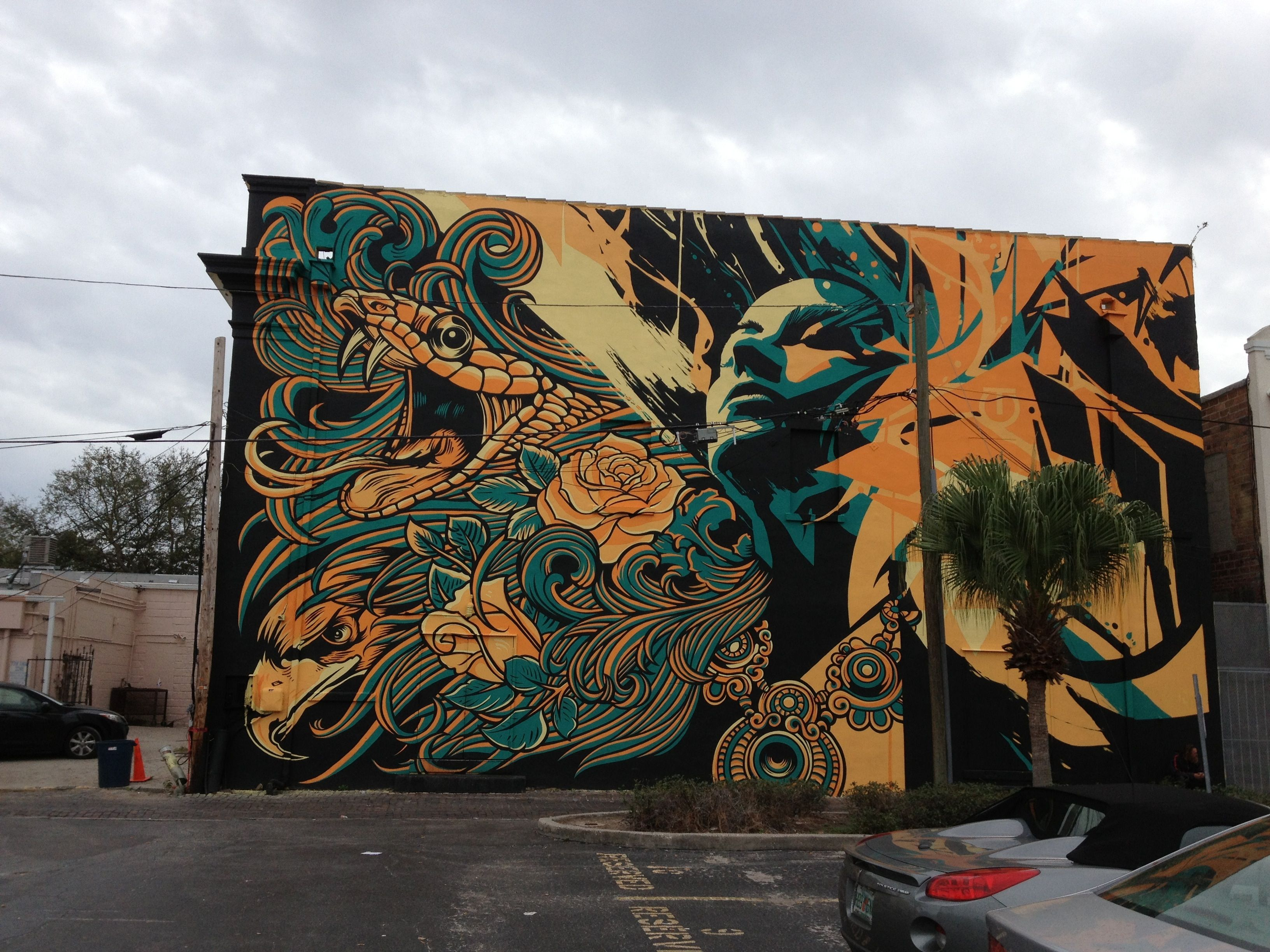 Mural on the backside of the State Theatre in downtown St. Petersburg by artist/graphic designer, Chris Parks.