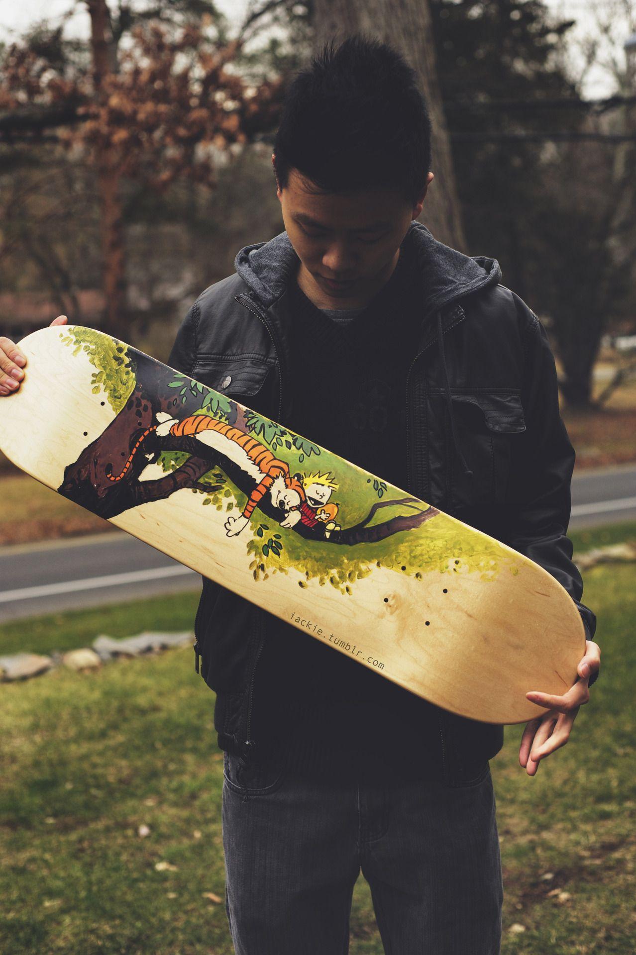 Calvin Hobbes By Jackie Lee Fun Skateboard Art With Images Skateboard Art Skateboard Deck Art Skateboard Design