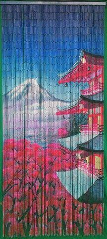 125 Strands Bamboo Door Beads Japanese Scenery Bamboo Beaded Curtains Bamboo Door Beads Bamboo Curtains
