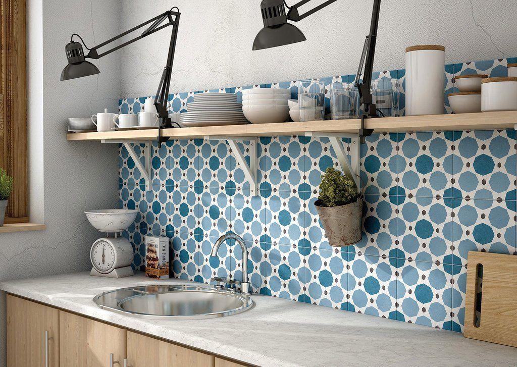 Encaustic Tile Arco Iris 8x8 Casablanca | Kitchen tiles ...