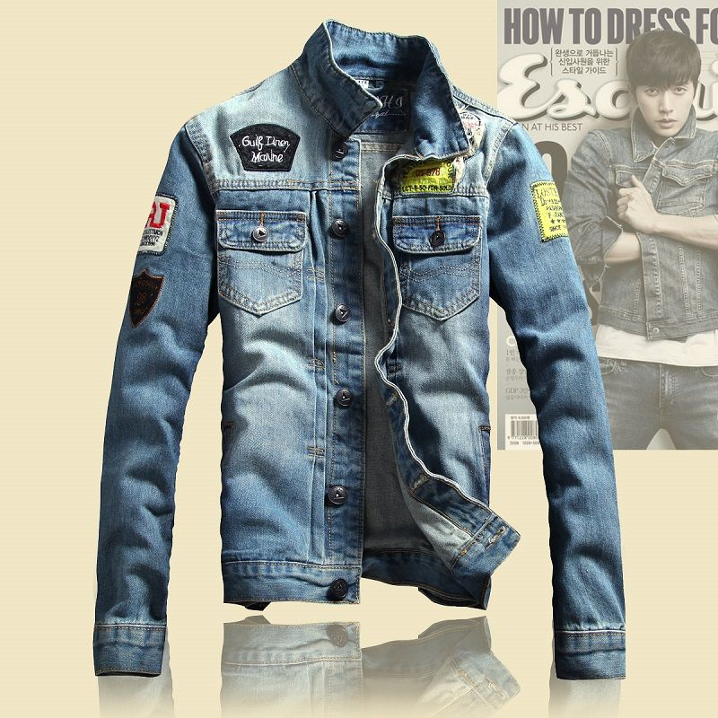 2016 Spring Mens Jackets Brand New Slim Fit Vintage Denim Patch ...