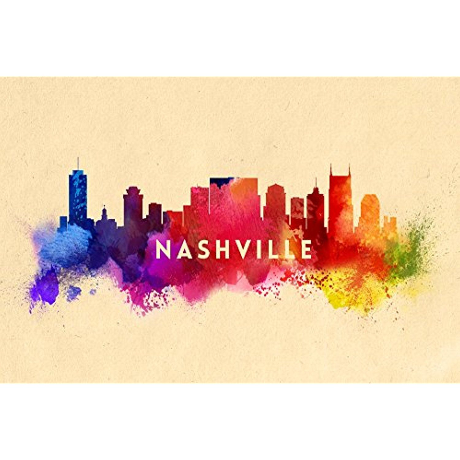 Nashville, Tennessee - Skyline Abstract (12x18 SIGNED Print Master ...