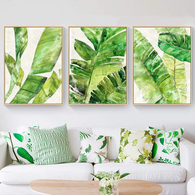 Nordic Canvas Painting Green Plant Wall Painting Creative Tropical
