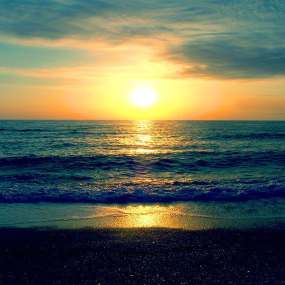 Beach Sunset Art Print - Navy Blue Aqua Orange Sky Ocean Beach House ...