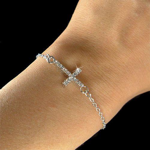 Best Christmas Danties: Dainty Swarovski Crystal Sideways Cross Charm Fine By