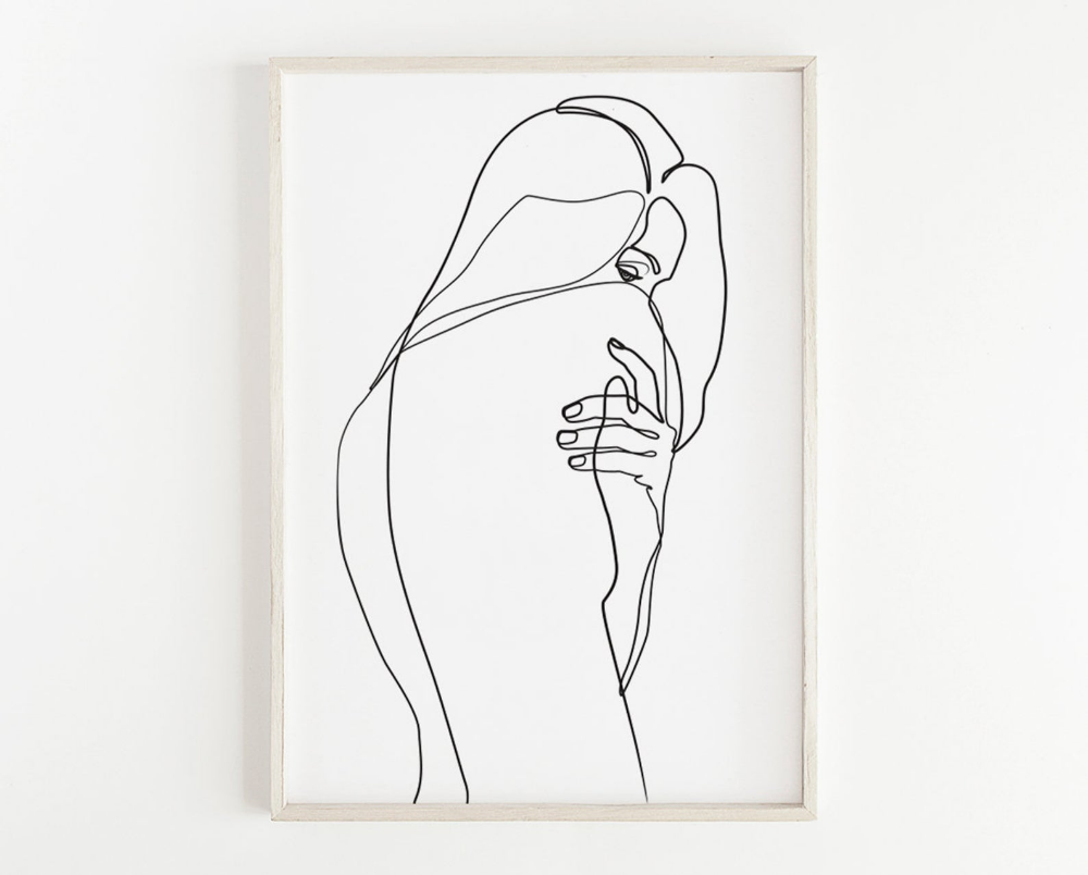 Photo of Abstract Woman Body PRINTABLE, Single Line Art, Woman Art, Naked Print, Feminine Poster, Female Body, Female Figure Art, Nude Art Drawing