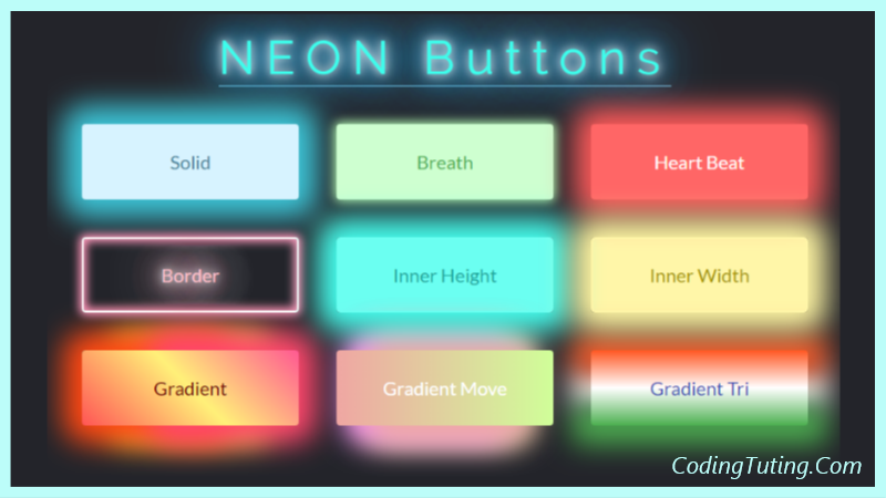 Super 9 Neon Buttons Css Glowing Buttons Codingtuting Com Css Pure Products Neon