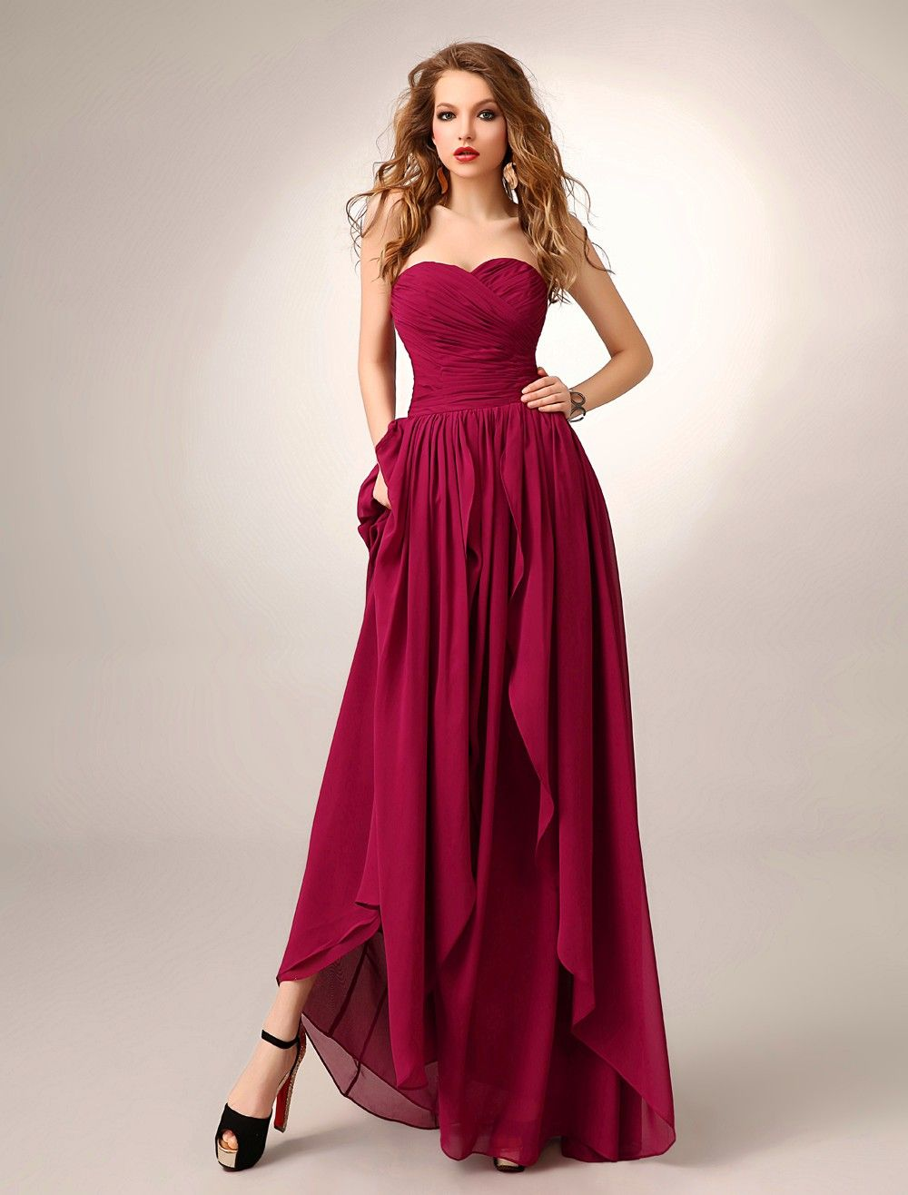 Grape draped sweetheart high low a line evening prom dress cwb