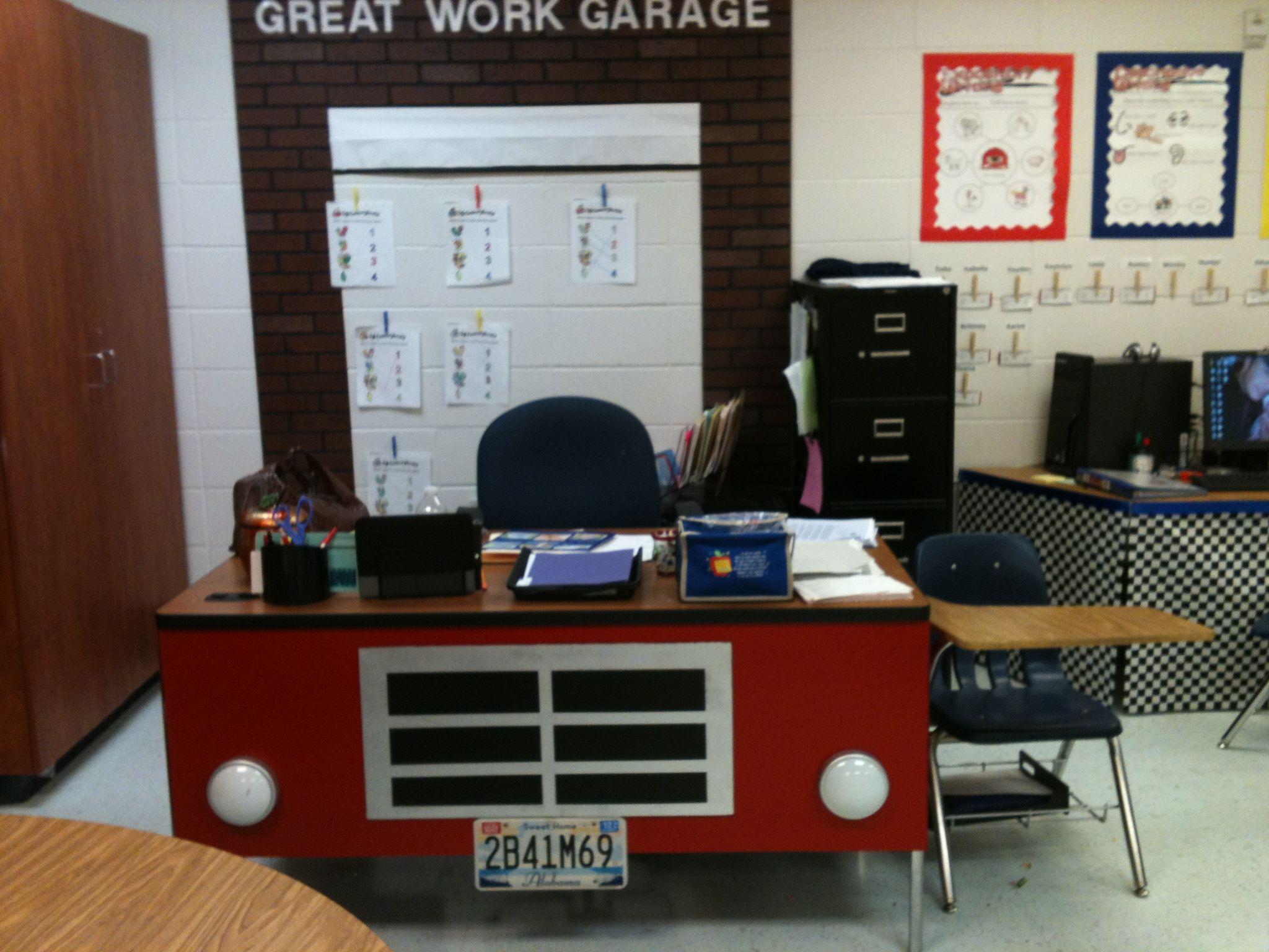 Car Desk for my car themed classroom   Car Theme for