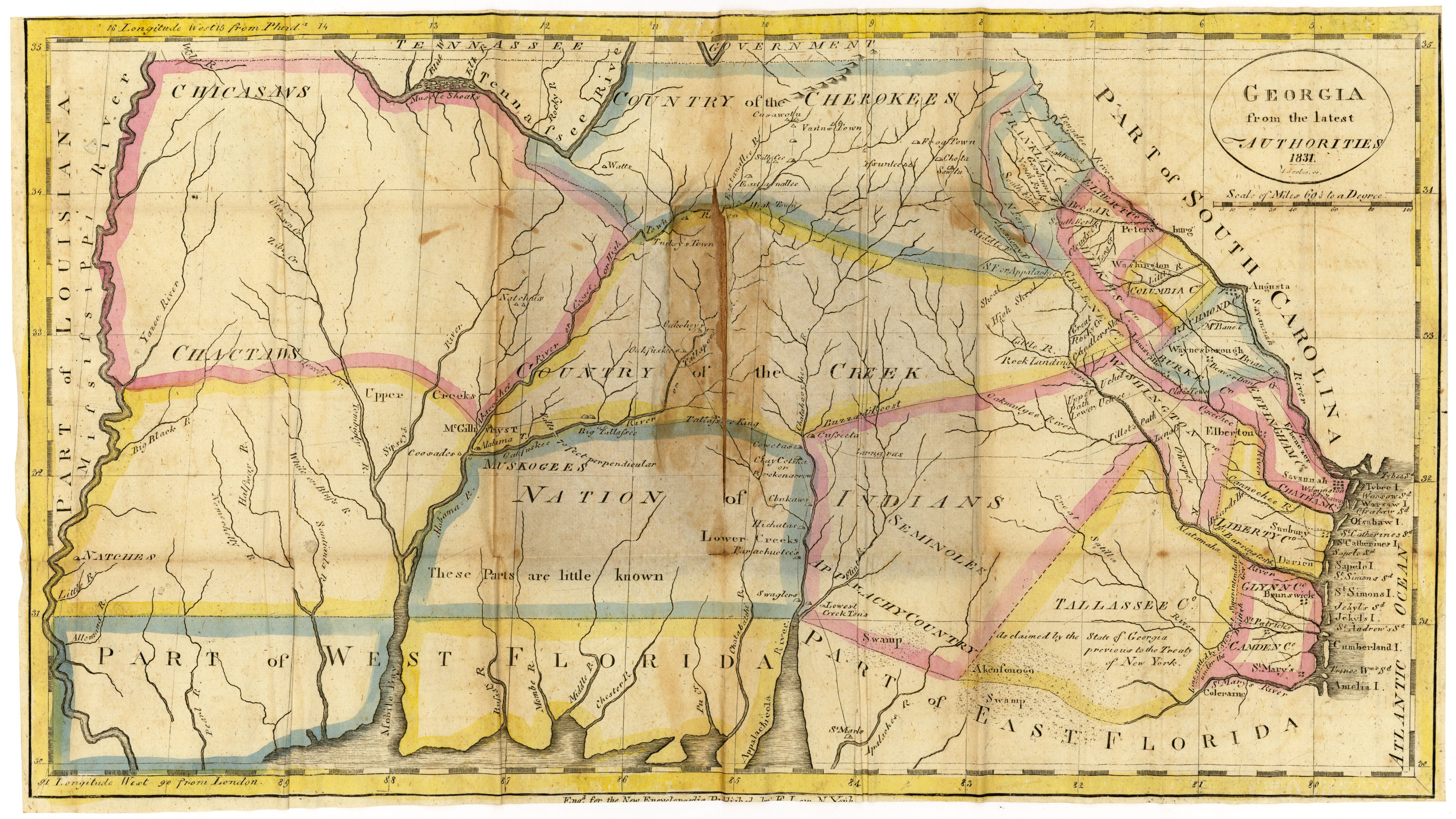Map Of Georgia United States.Map Courtesy Dorothy Sloan Austin Texas America Historical