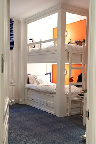 Built in #BunkBeds in a child's bedroom. Accent wall color and recessed lighting really add ambience.