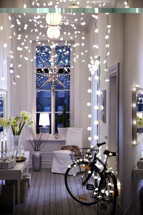 Brilliant Bicycle Decor For The Home And Garden Snowflake Lights Xmas Holiday