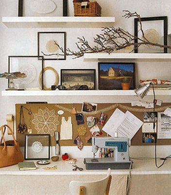 Office Above Desk Shelving Like The Staggering Of The Shelves To Create Dimension Home Simple Decor Floating Shelves