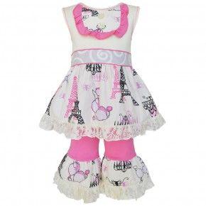 Annloren Baby Girls Pink Poodles in Paris Dress Capri Boutique Outfit 12-24M