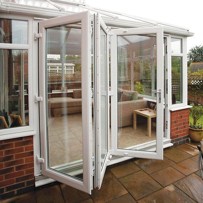 PVCU White Smooth Glazed External Bifold Bifolding door
