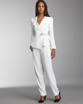 Womens White Wedding Pant Suit