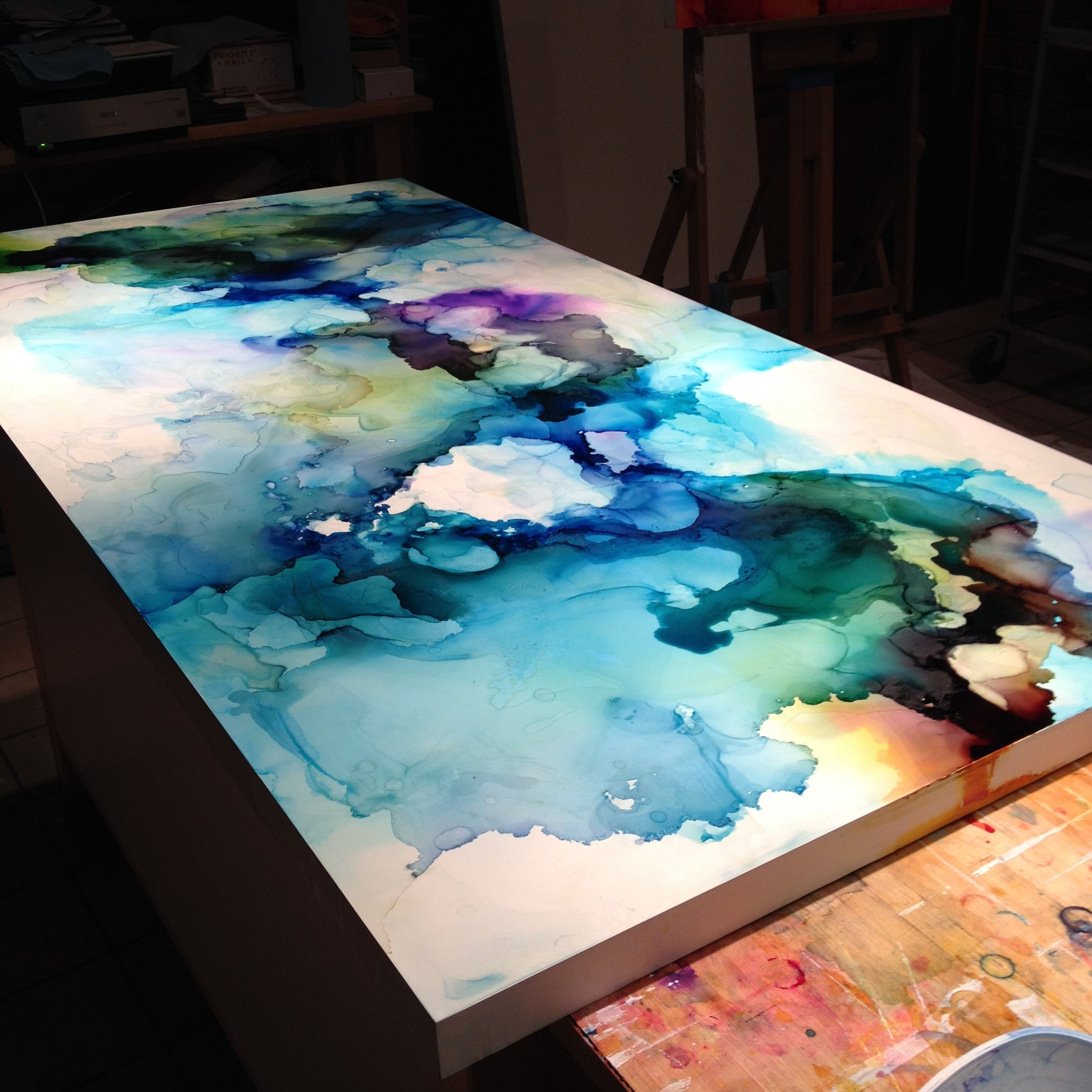 Decorative art watercolor or wash on canvas