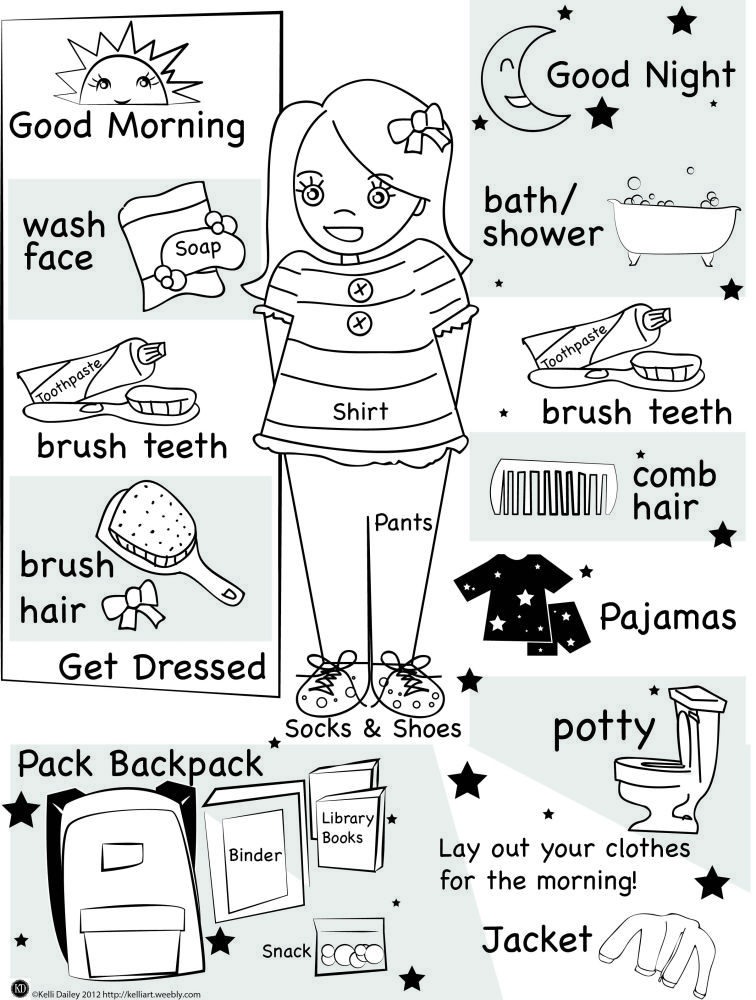 Printable Good Morning Good Night Checklist For Kids Getting Ready School Readiness Checklist Charts For Kids