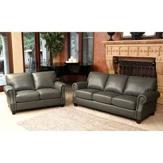 Abbyson Landon Top Grain Leather Sofa And Loveseat | Overstock.com Shopping    The Best