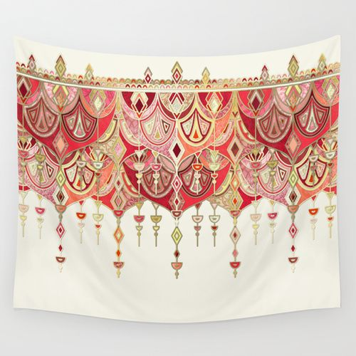 Royal Red Art Deco Double Drop Wall Tapestry By Micklyn Society6 Tapestry Red Art Wall Tapestry