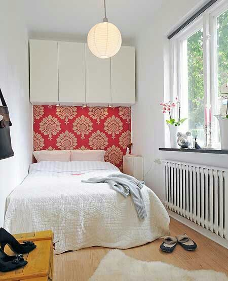 Small bedroom idea.use hanging cabinet instead of closet ...