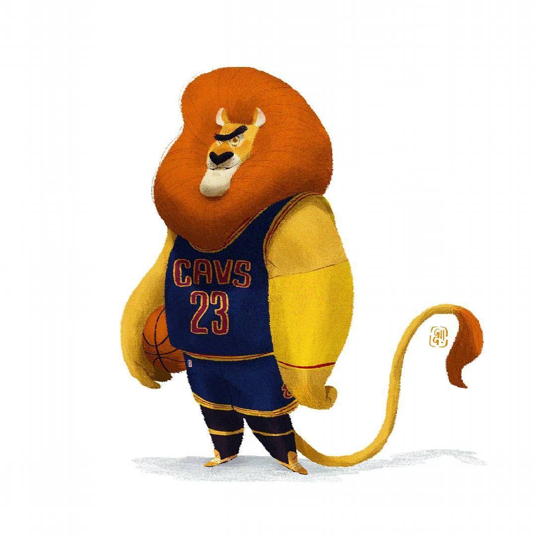 "2,884 Me gusta, 23 comentarios - Gop Gap (@gg.gopgap) en Instagram: ""Leon James, Cavs  #lion #basketball #characterdesign"""