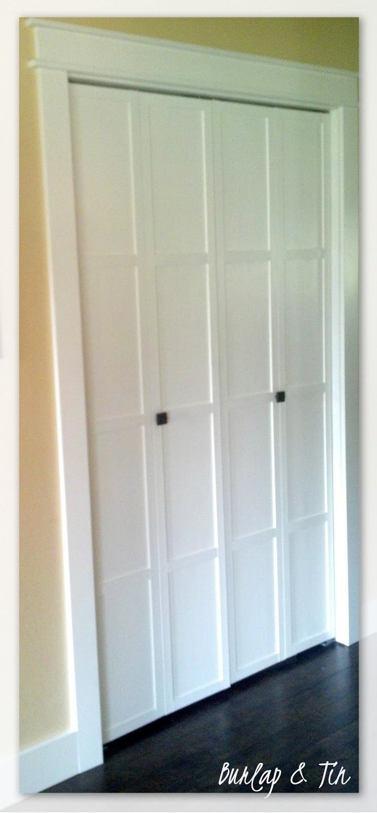 Burlap Tin Updating Boring Oak Bi Fold Doors Bifold Doors Closet Door Makeover Bifold Doors Makeover
