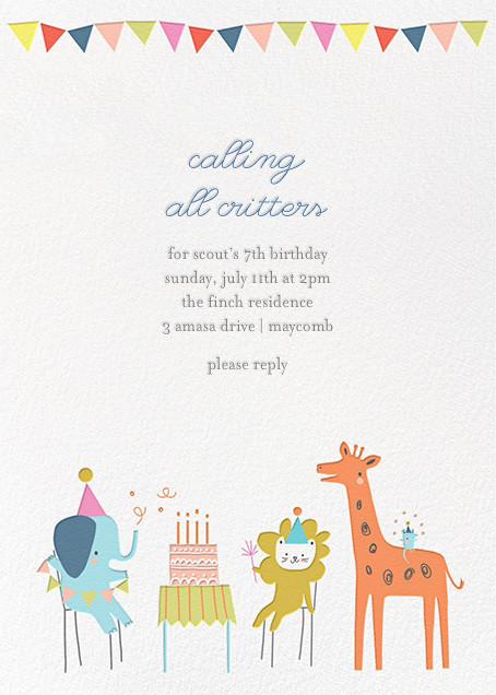 Jungle Birthday Bash Invitation Birthday Invitations Kids Happy Birthday Greeting Card Virtual Birthday Cards