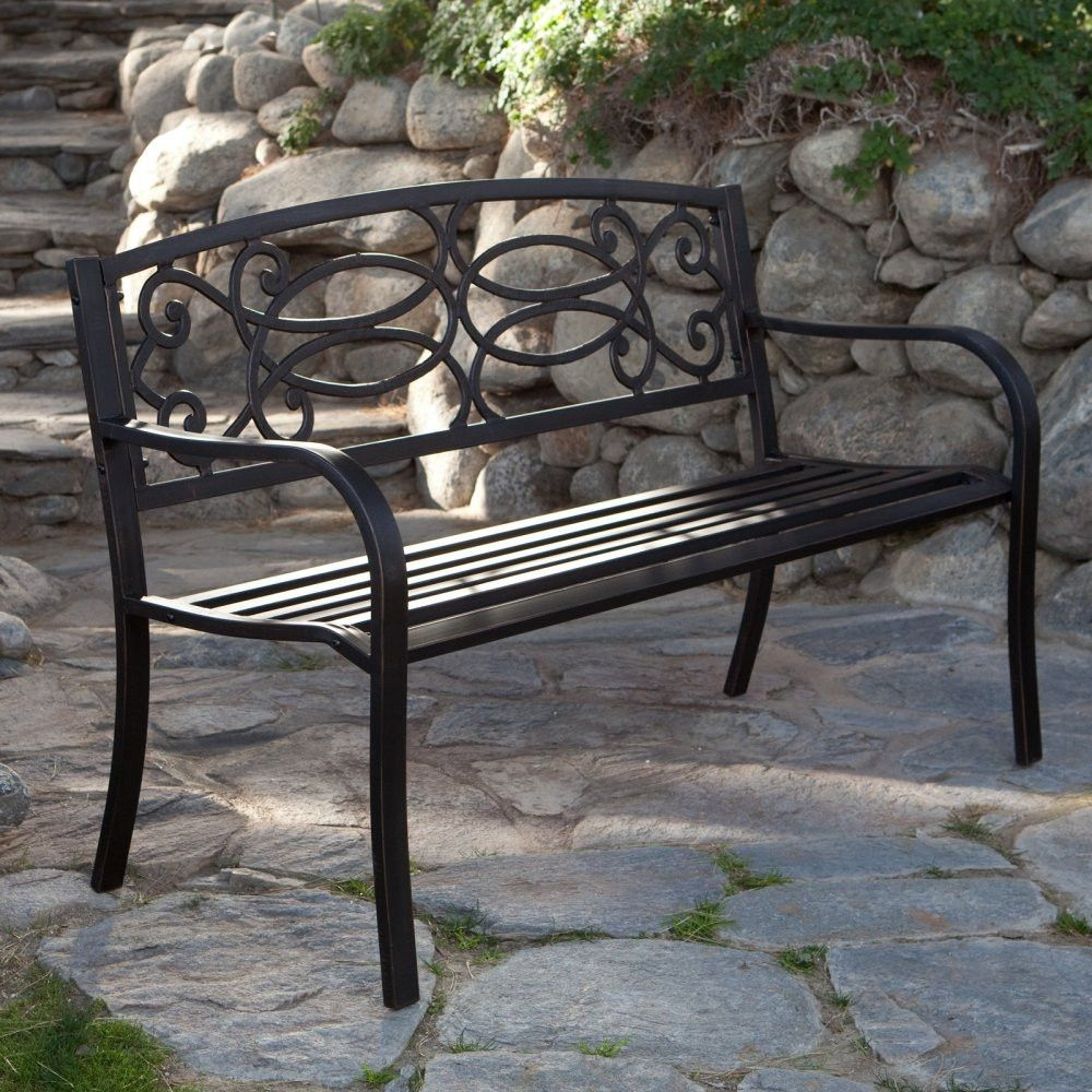 4 Ft Metal Garden Bench In Antique Black Finish Gardens
