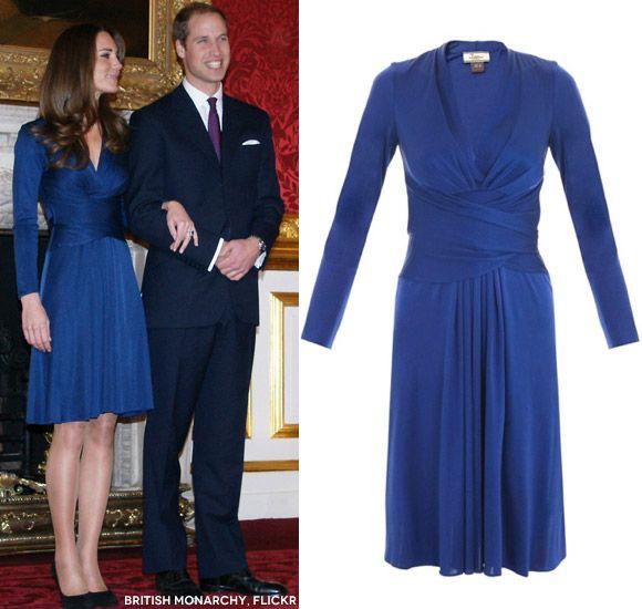 Kate Middleton Engagement Dress • Blue Issa Phylis Wrap Dress