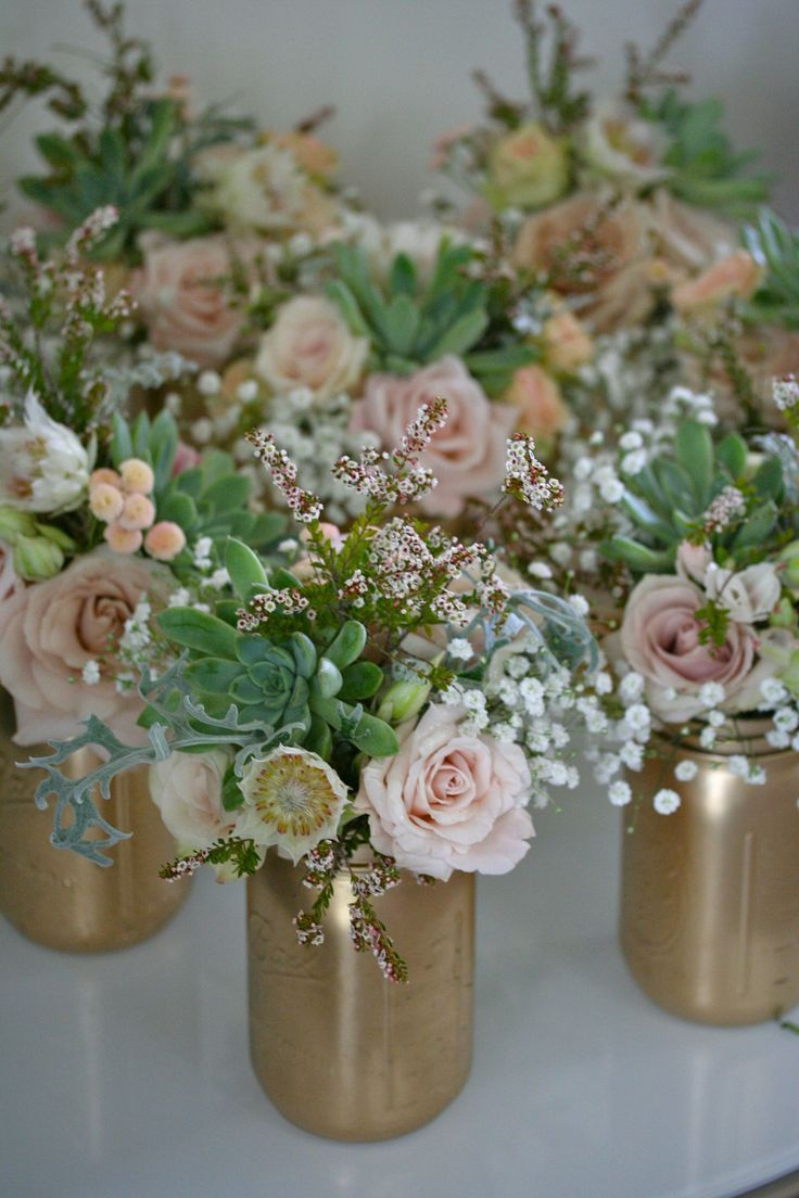 Gold painted mason jars with succulents wedding pinterest beautiful bridal 13 most beautiful mason jar centerpieces solutioingenieria Gallery