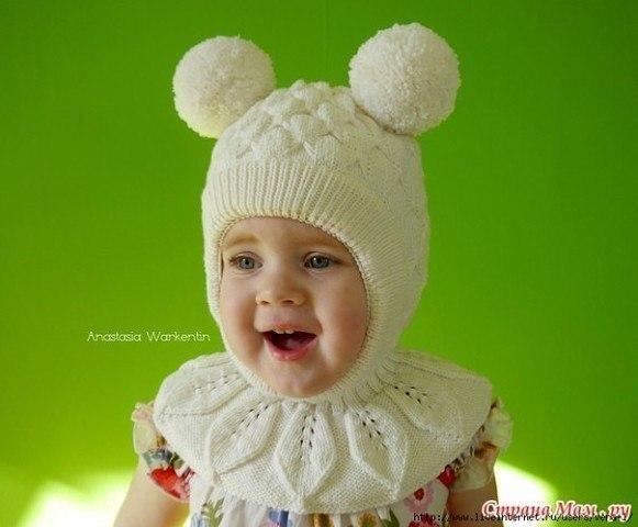 Шапка шлем для девочки (Вязание спицами)   Журнал Вдохновение Рукодельницы