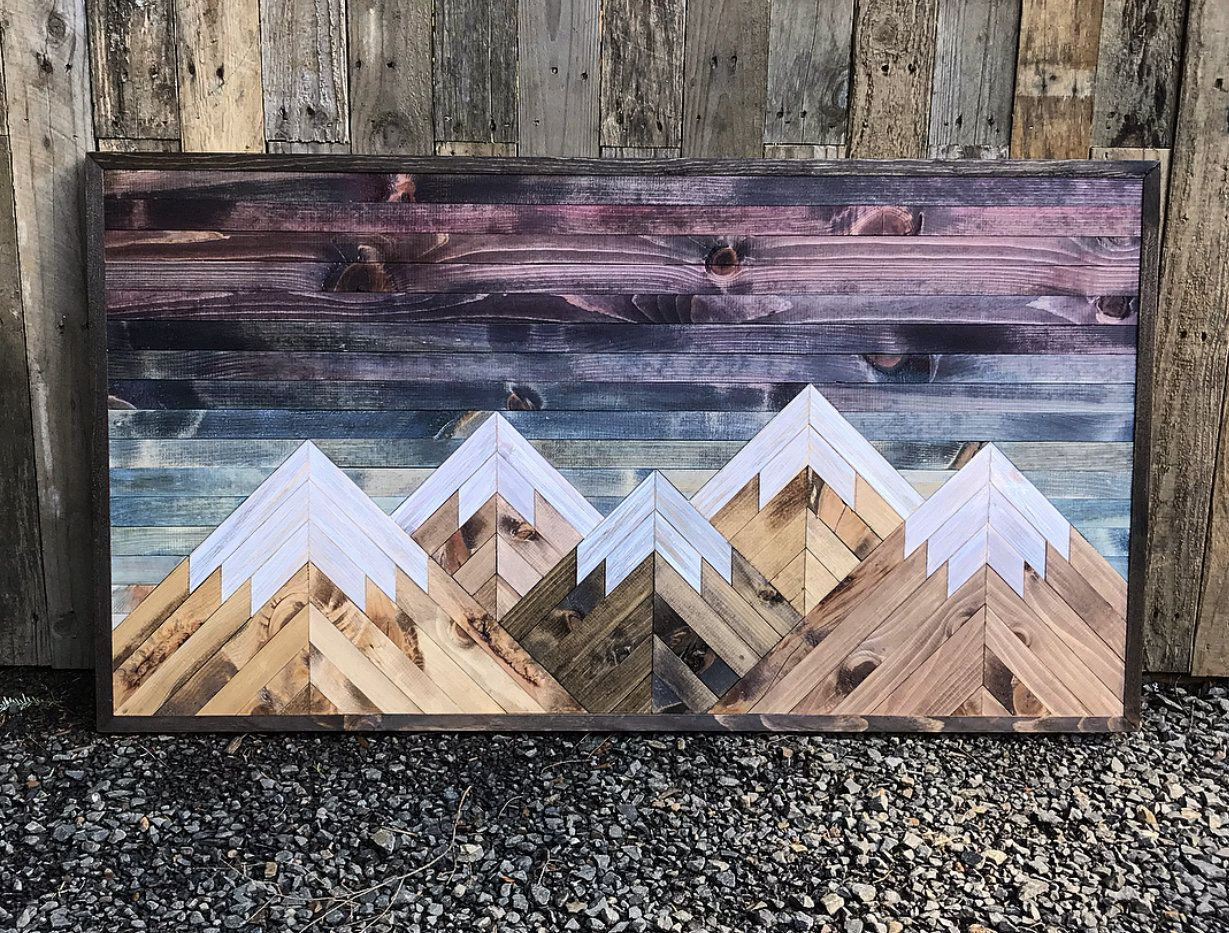 Rustic Sunset Five Mountains Wood Wall Art Etsy Mountain Wood Wall Art Mountain Wood Art Rustic Wall Art