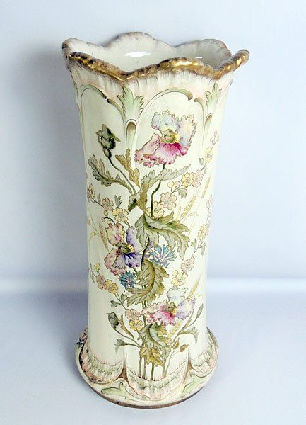 Royal Bonn Porcelain Umbrella Stand, Hand Painted With Flowers And Leaf Decoration