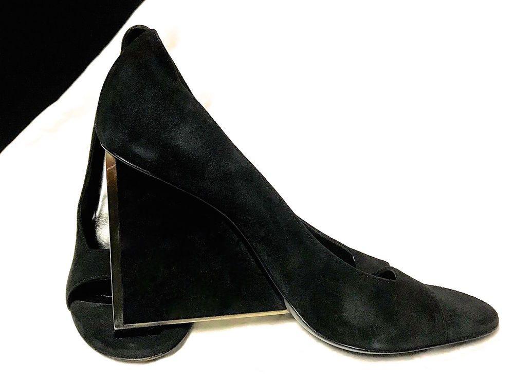 c32c78e714c2c2 CHRISTIAN DIOR Women s Black Suede Platform Wedge Silver Metal Peep Toe  S-088  Dior  PlatformsWedges  SpecialOccasion