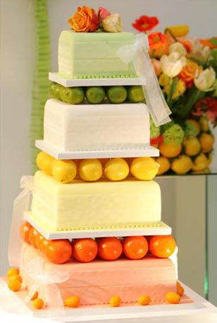 Yellow And Green Wedding Cakes