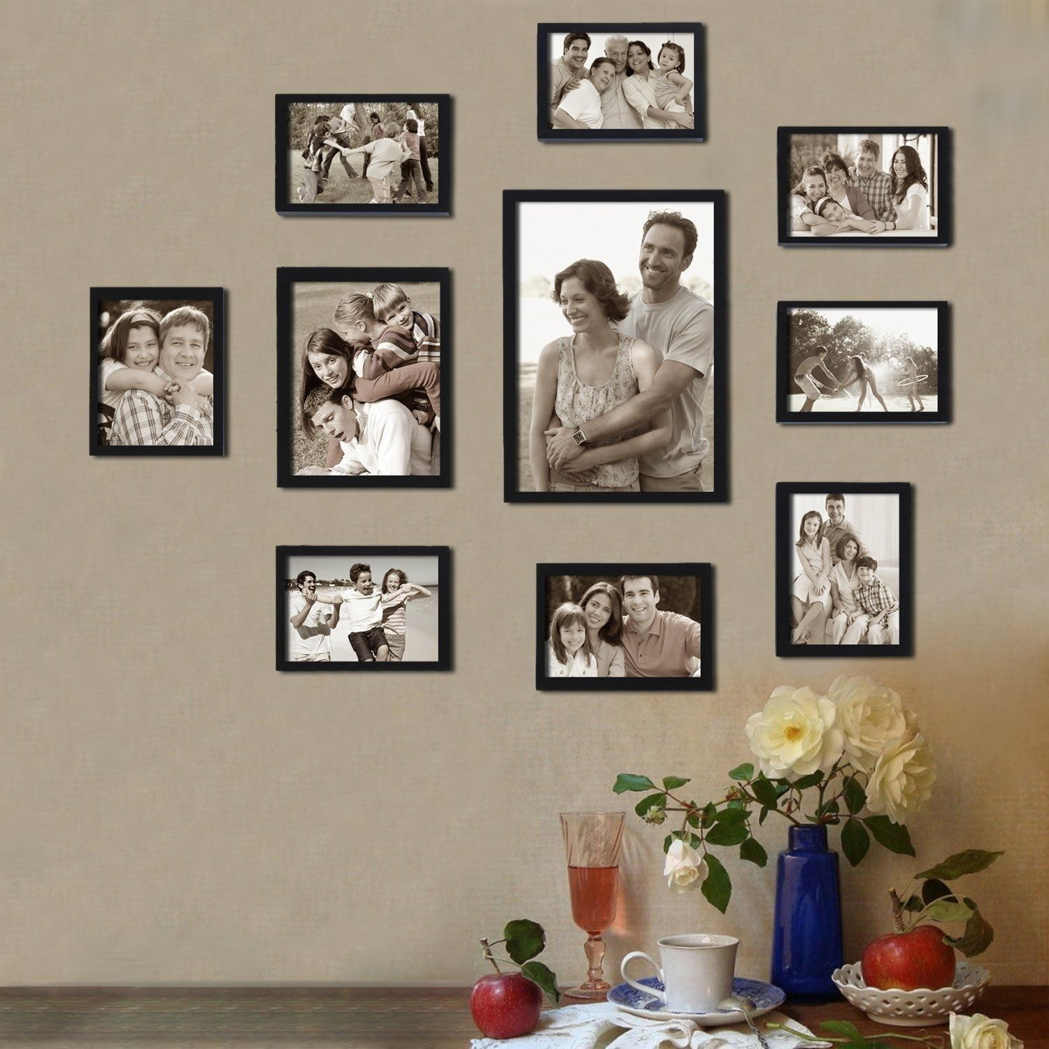 Adeco Decorative Black Wood 10 Piece Photo Frame Set For 8 4 X 6 Inch 1 6 X 8 Inch And 1 8 X 12 Inch Pictures Wedding Picture Walls Hanging Table Frame