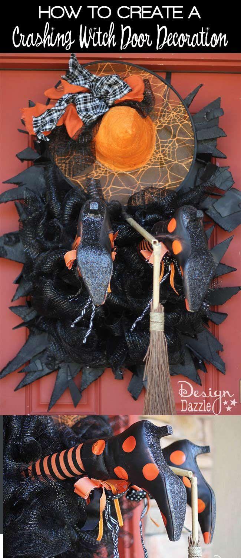 Fabulous Halloween Witch Crashing Decoration Design Dazzle Unique Halloween Decorations Witch Door Decorations Diy Halloween Witch