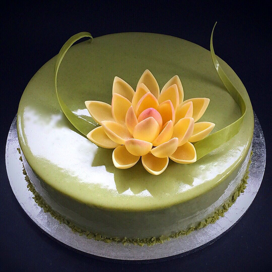 Matcha Sponge Cake Layered With Matcha Mousse And Matcha Mirror