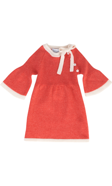 Baby CZ Long Sleeve Tipped Cashmere Dress with Ruffle Sleeve